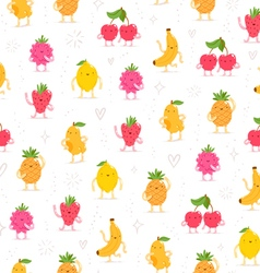 Cartoon fruit characters seamless pattern vector image vector image