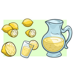 Cartoon jug with fresh lemonade and lemons vector