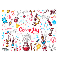 Chemistry of icons set chalkboard with elements vector