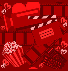 cinema and moviered seamless pattern for web vector image