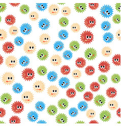colored cartoon microbes seamless pattern vector image