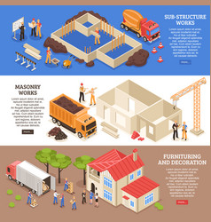 construction aspects banners set vector image