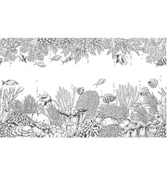 Coral reef and swimming fishes pattern vector