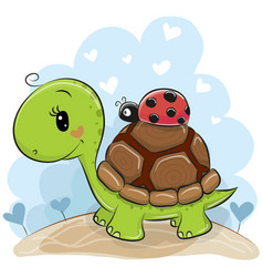 cute cartonn turtle with ladybug vector image