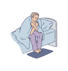 Depressed man sitting at bed edge covered with vector