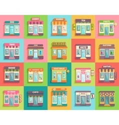 Different stores and shops icons set flat design vector