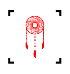 Dream catcher sign red icon inside black vector