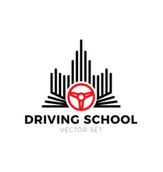 driving school logo book car wheel road sign and vector image