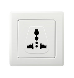 Electric outlet socket mockup isolated on white vector