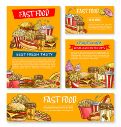 Fast food restaurant sketch posters vector