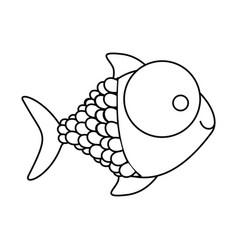 Figure happy fish cartoon icon vector