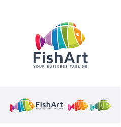 fish art logo design vector image