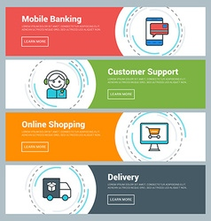 Flat Design Concept Set of Web Banners Mobile vector image