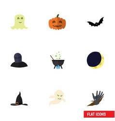flat icon halloween set of zombie ghost vector image