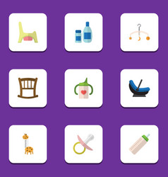 flat icon infant set of infant cot nipple mobile vector image