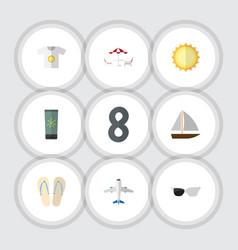 Flat icon season set of beach sandals sunshine vector