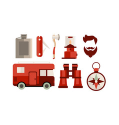 flat set of icons related to camping and vector image