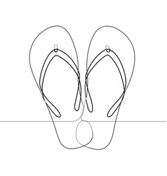 flip flop foot sandals single continuous line vect vector image