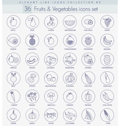 fruits and vegetables outline icon set vector image