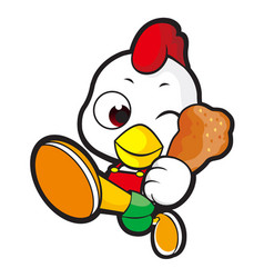 Funny chicken character goes up like a cartoon vector