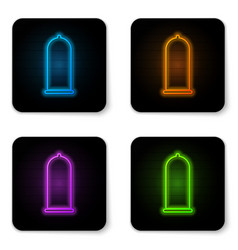 glowing neon condom safe sex icon isolated on vector image
