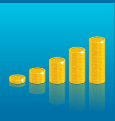 gold coins piles cartoon style vector image