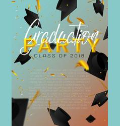 Graduate caps and confetti on a bright background vector
