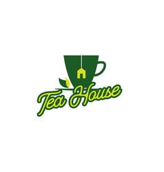 Green tea house logo design template vector