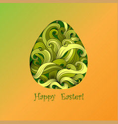 greeting card of easter with color egg vector image
