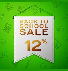 Grey pennant back to school sale twelve percent vector
