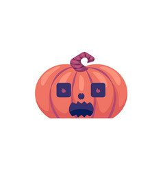 halloween carved pumpkin with frightened face vector image