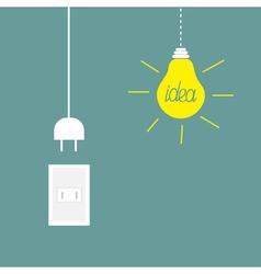 Hanging yellow light bulb rosette cord plug Idea vector image