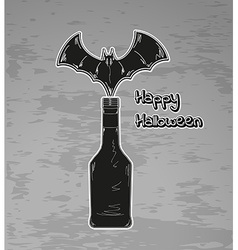 Happy halloween black bottle and bat vector