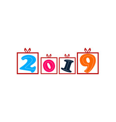 happy new year 2019 logo vector image