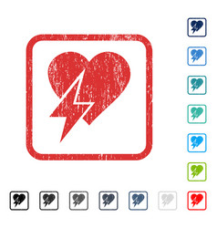 Heart shock icon rubber watermark vector