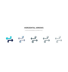 Horizontal arrows icon in different style two vector