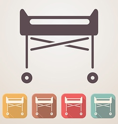 Hospital crib flat icon set in color boxes with vector image