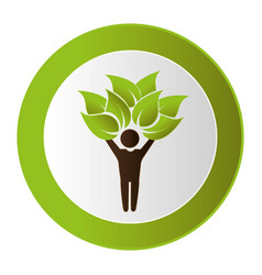 Human figure with leafs plant ecology symbol vector