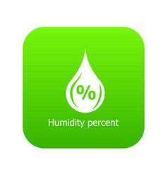 Humidity percent icon green vector
