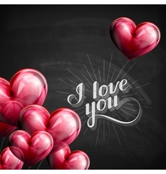I love you retro label on blackboard vector image