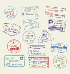 icons city passport stamps world travel vector image