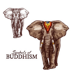Indian elephant sketch of buddhism religion animal vector