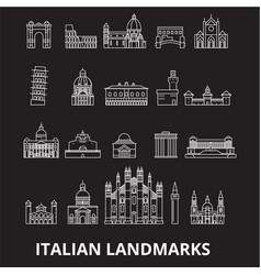 italian landmakrs editable line icons set vector image