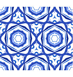 Kaleidoscopic blue flower ornament vector