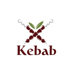 Kebab with leaves vector