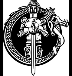 Knight in Dragon Circle vector image