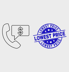 line financial phone message icon and vector image