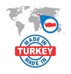 Made in turkey stamp world map with red country vector