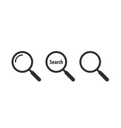magnifying glass and search icon set vector image