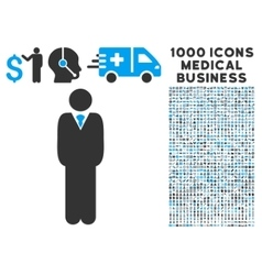 Manager Icon with 1000 Medical Business Symbols vector
